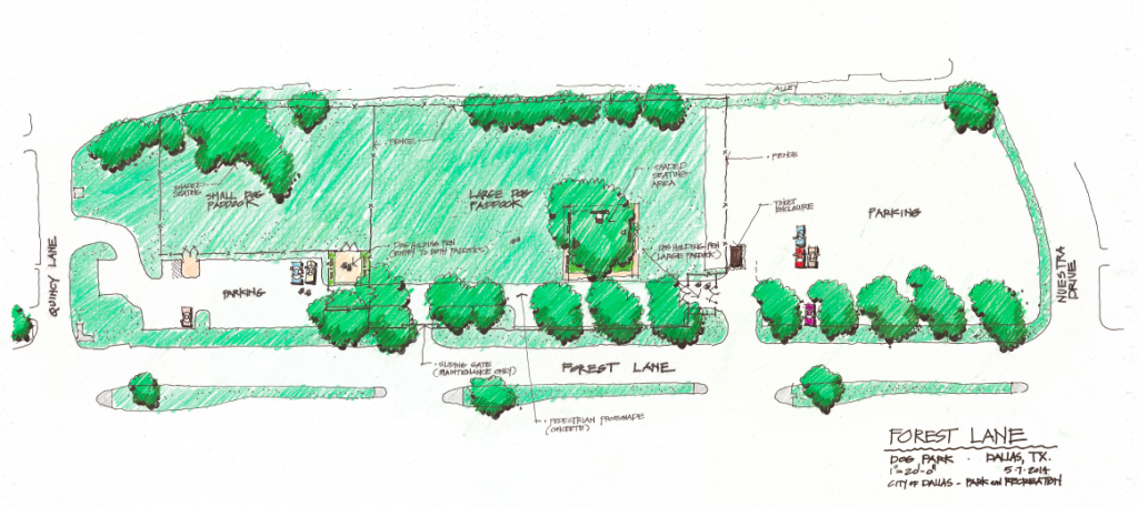 The rendering of a possible temporary dog park at Forest and Nuestra (click to enlarge)
