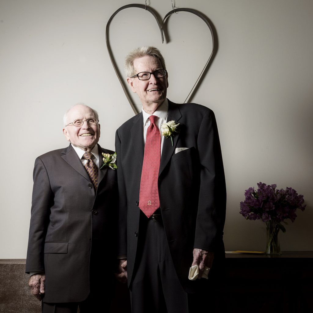 Jack Evans and George Harris on their wedding day. (Photo by Danny Fulgencio)