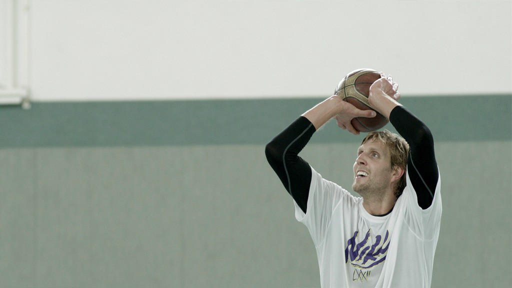 Dirk Nowitzki in NOWITZKI: THE PERFECT SHOT, a Magnolia Pictures release. Photo courtesy of Magnolia Pictures.