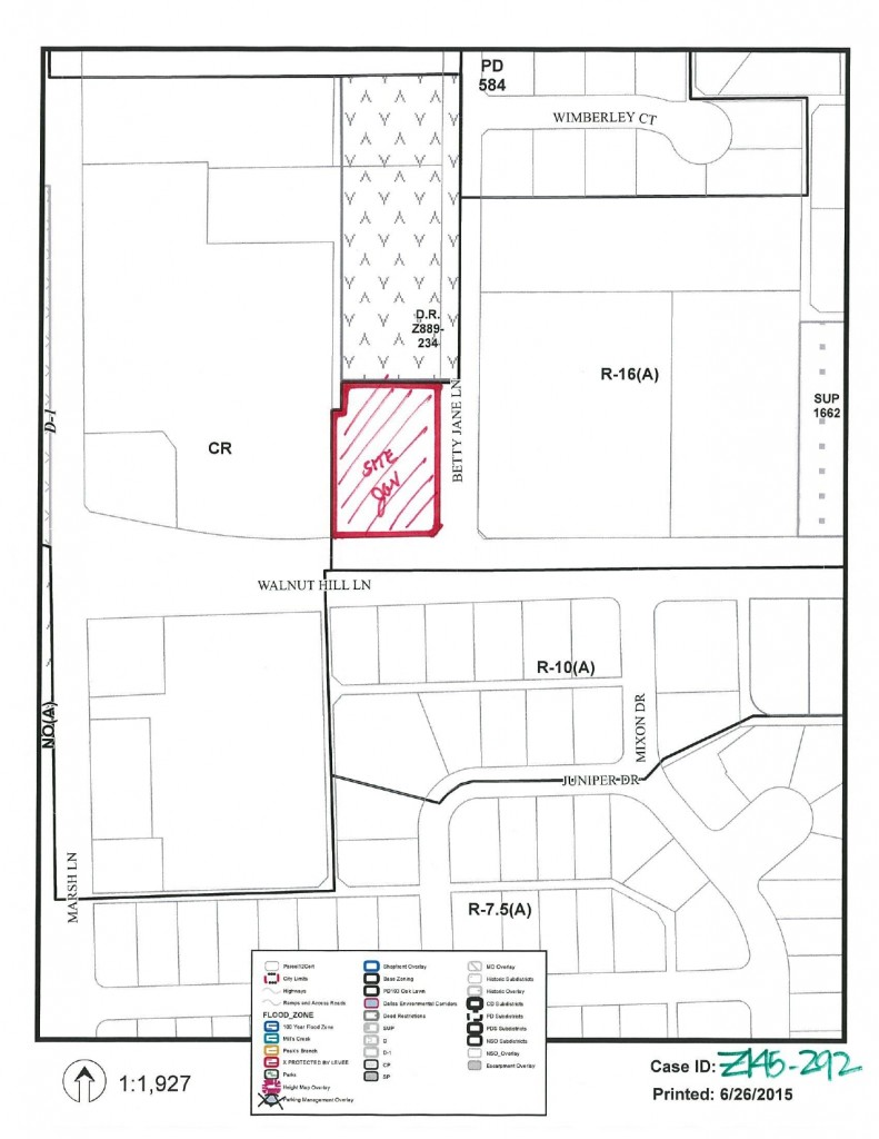 map included in zoning change application