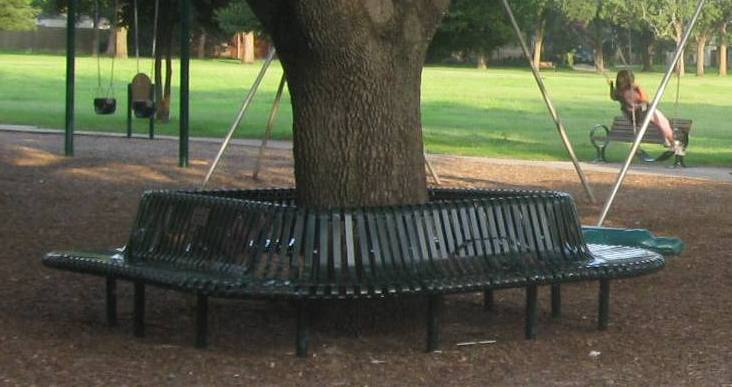 Bench in Preston Hollow Park, donated by the Preston Hollow Early Childhood Association (PHECA).