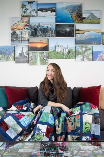 Kimberly Rossbach and her gifted quilt made of her deceased father's Hawaiian shirts. (Photo by Rasy Ran) Kimberly Rossbach poses for a portrait in her home October 27, 2015 in Preston Hollow. Rossbach was surprised during Christmas with a quilt that was made of parts of her deceased father's Hawaiian shirts. (Photo by Rasy Ran)