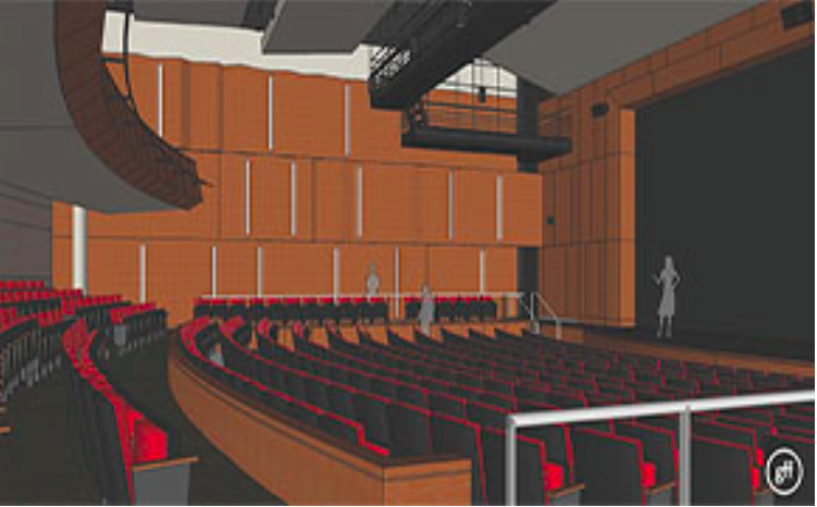 Rendering of the auditorium at Nasher-Haemisegger Family Center for the Arts by Good Fulton and Farrell, via Hockaday