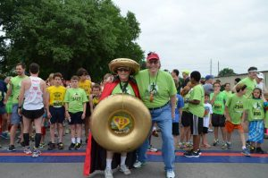 Bagel Man is the mascot at the annual Bagel Run. (Photo from Facebook)