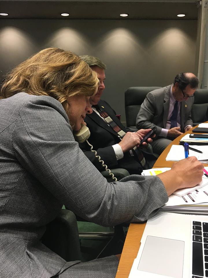 Jennifer Staubach Gates answers the rarely used City Hall landline. (Photo from Facebook)