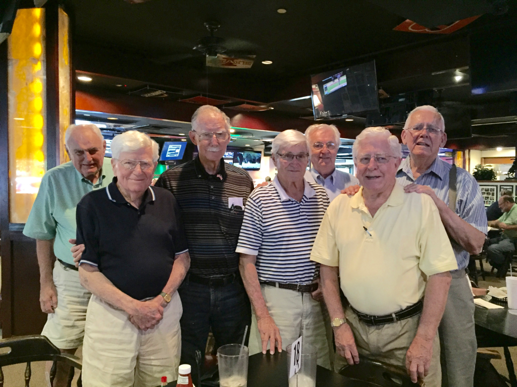The Romeos at Midway Point included, from left, Phil Faulkner, Denis McMahon, Charlie Doyle, Joe Bates, Richard Welch, Bob Kelly and Roger Nolan. (Photo by Lauren Law)