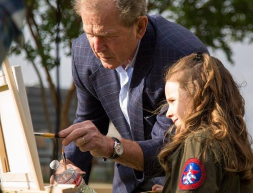 George W. Bush working on a book that showcases wounded veterans and his paintings