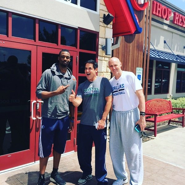 Preston Hollow resident Mark Cuban flanked by new Mavericks recruit Harrison Barnes and Mavericks coach Rick Carlisle. (Photo from Twitter)